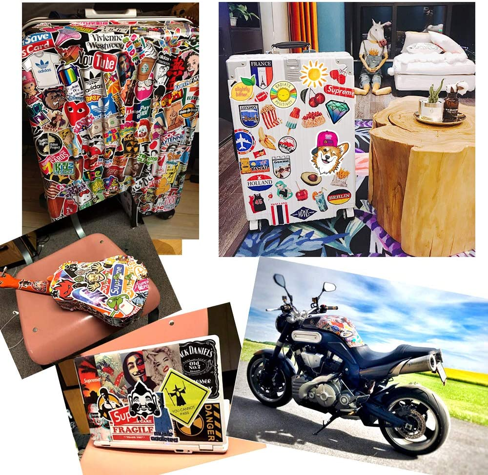 Sticker 200 pcs Vinyl Waterproof Stickers for Water Bottles Laptop Luggage Stickers Bicycle Skateboard Guitar Graffiti Sticker Motorcycle Phone Computer Stickers Teens Girls Boys Holiday Gifts