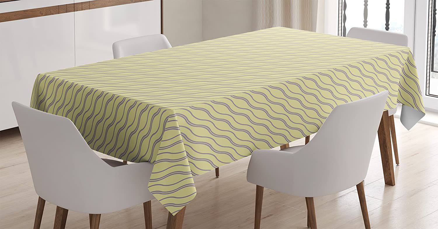 Abstract Tablecloth by Ambesonne, Skewed Wavy Lines Pattern with Soft Yellow Backdrop Artistic Print, Dining Room Kitchen Rectangular Table Cover, ...