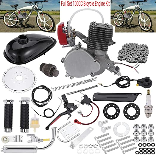 Sihand Full Set 100CC Bicycle Engine Kit, Motorized Bike 2-Stroke, Petrol Gas Engine Kit, Super Fuel-efficient for 24 ,26 or 28 Bicycle