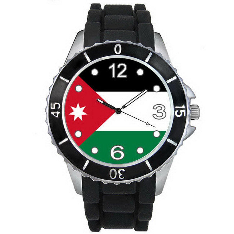 BMSC039 Jordan Country Flag Mens Ladies Unisex Black Jelly Silicone Wrist Watch