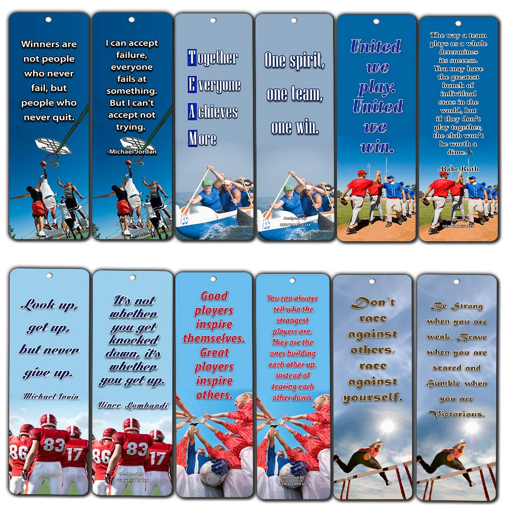 Amazon Sports Inspirational Quotes Cards Bookmark Set 60 Pack
