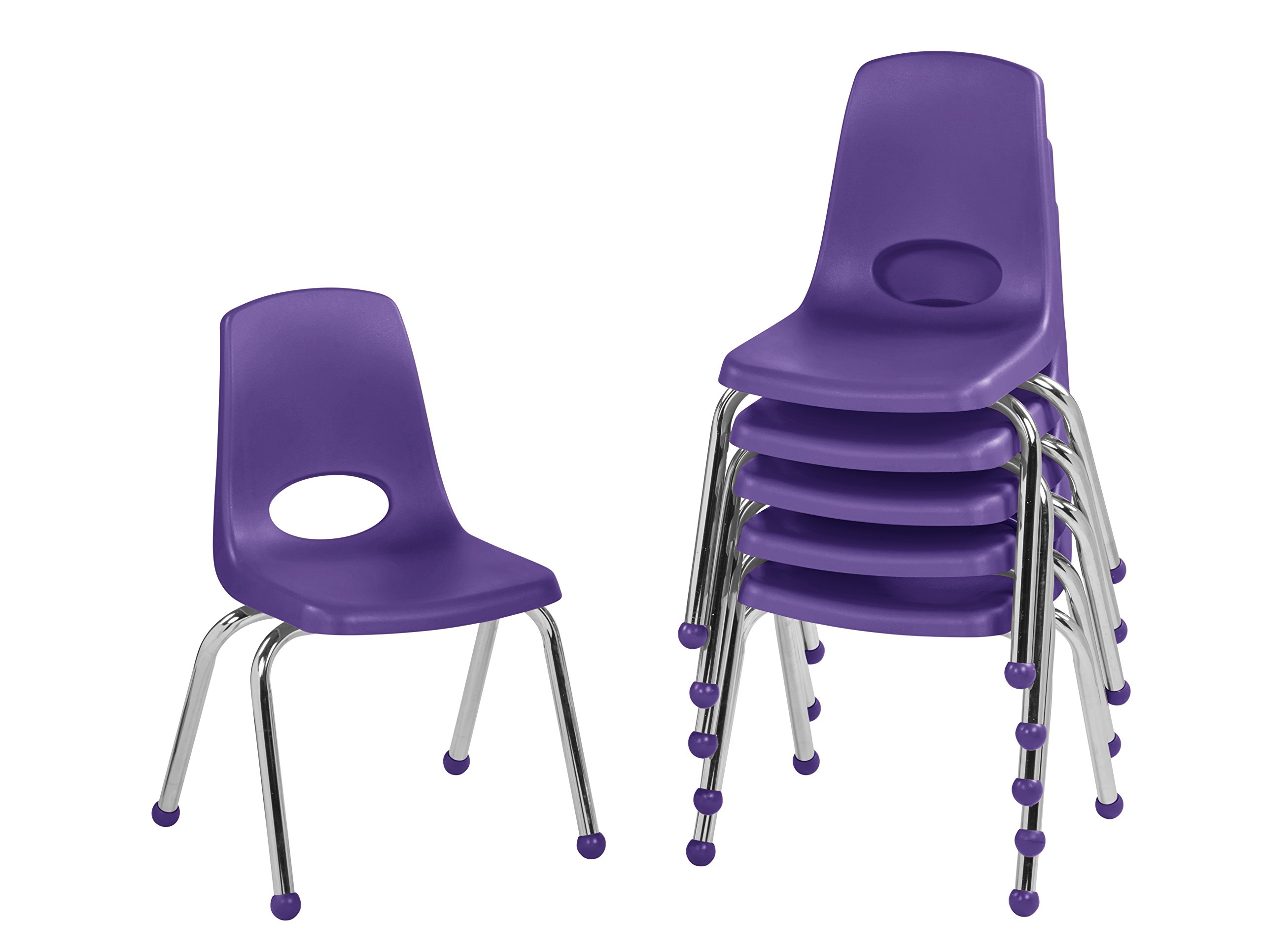 ECR4Kids 14'' School Stack Chair, Chrome Legs with Ball Glides, Purple (6-Pack)