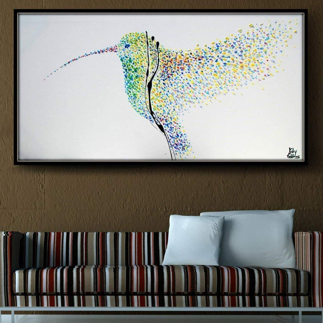 Painting Humming Bird 55 Original oil painting on canvas, Clean Modern looks, Beautiful refreshing colors, Express shipping, Koby Feldmos