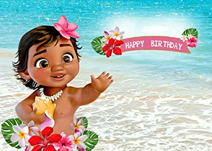 9deed8d825a79 TJ 7X5FT Baby Moana Backdrop 1st Birthday Party Decor Banner Sea Blue Water  Summer Photography Backdrop