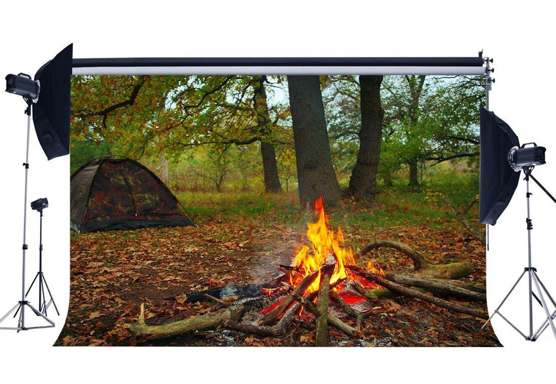 gladbuy Summer Camp Backdrop 7 x 5ftビニールRuralジャングルフォレストBackdrops ShabbyテントBonfire Falling Leaves Wild Adventure写真背景for Studentsスクールアクティビティフォトスタジオ小道具bl32   B07DPF98BY