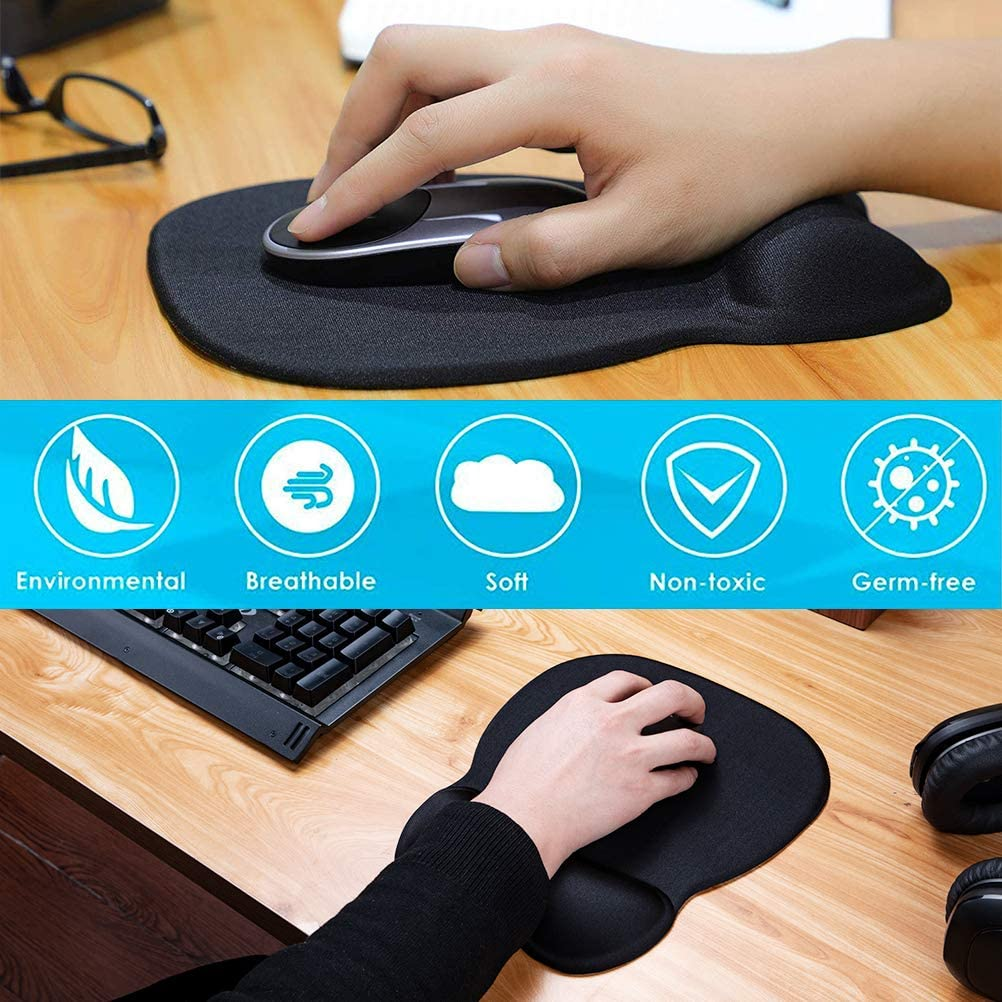 MROCO Ergonomic Mouse Pad with Wrist Support Gel Mouse Pad with Wrist Rest, Comfortable Computer Mouse Pad for Laptop, Pain Relief Mousepad with Non-slip PU Base for Office & Home, 9.4 x 8.1 in, Black : Electronics