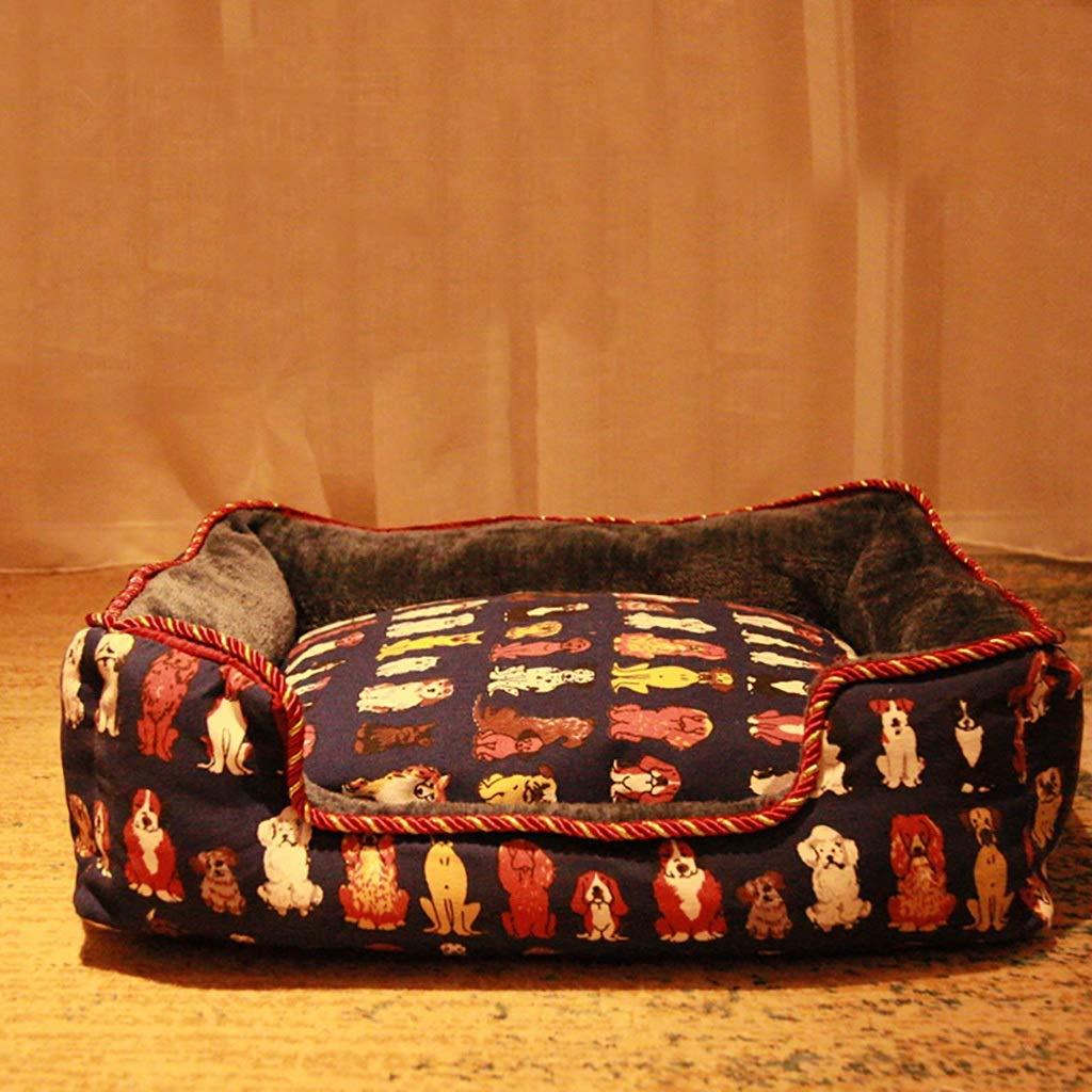 B L-8060cm B L-8060cm JTWJ Kennel Removable And Washable Pet Mat Winter Warm Small Medium Large Dog Sleeping Mat Pet Room (color   B, Size   L-80  60cm)