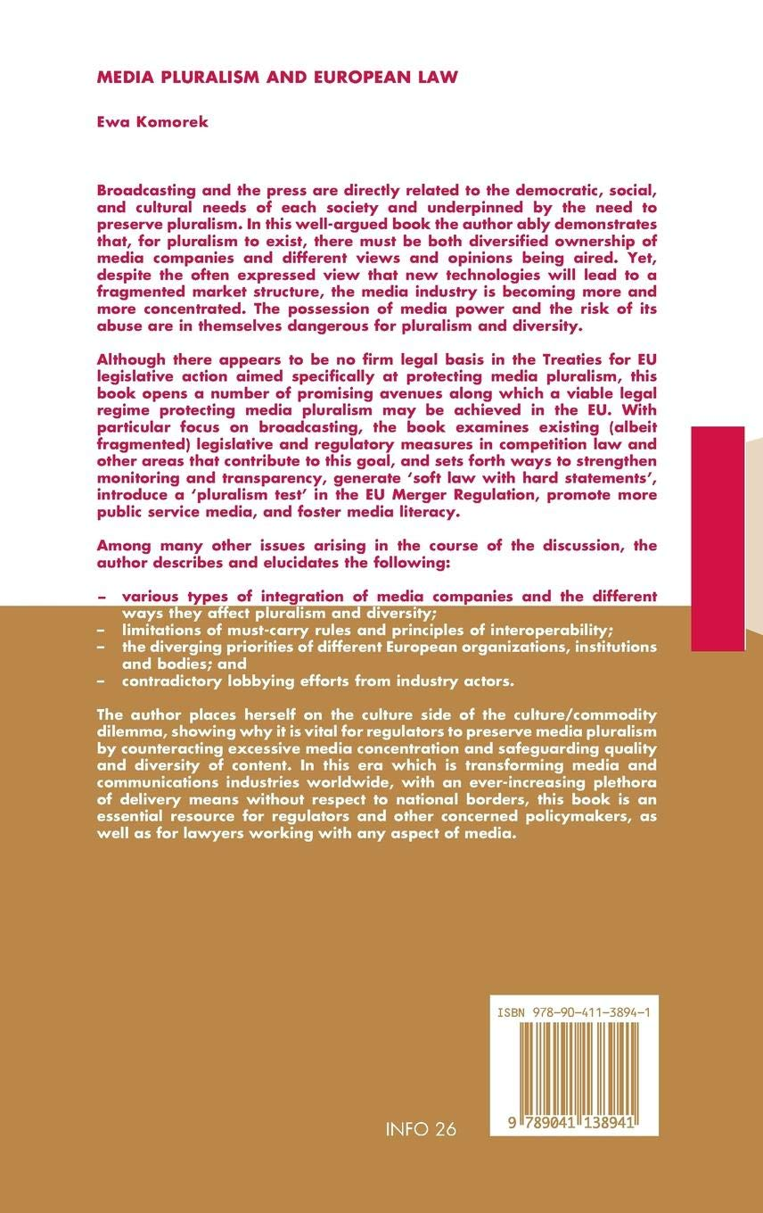 Media Pluralism and European Law (Information Law Series)