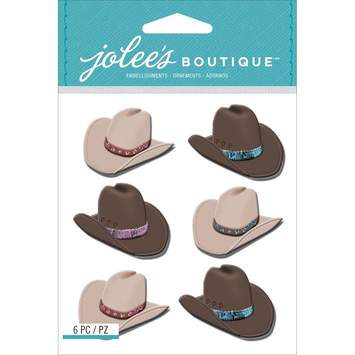 Jolee's Boutique Dimensional Stickers, Cowboy Hats Repeats