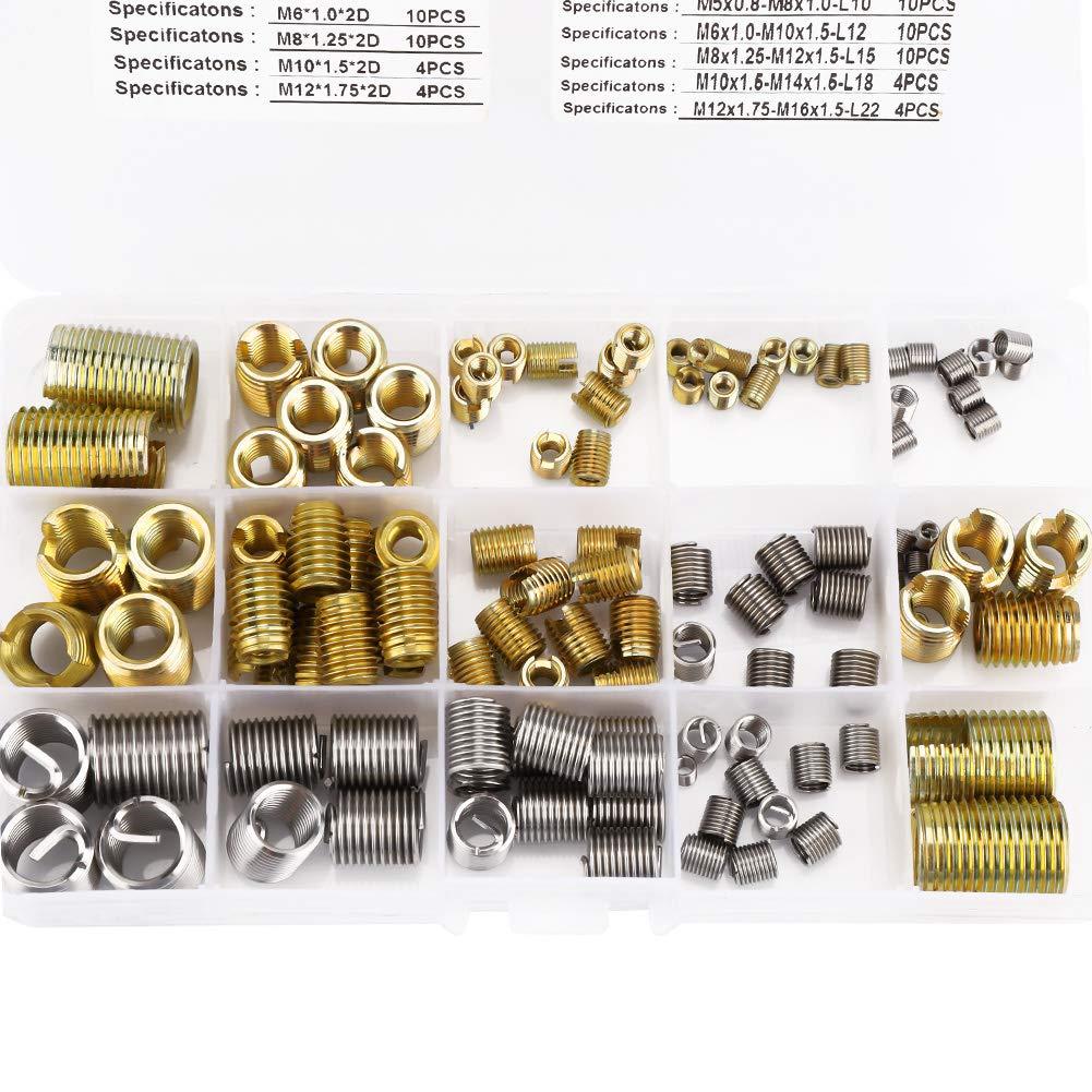 M6 M8 116pcs Gewindeschneideins/ätze mit Gewinde und Gewindeeins/ätze aus Stahldraht Kombinationsset mit Box M4 Gewindereparaturwerkzeug f/ür 2D M3 M5 M12 M10
