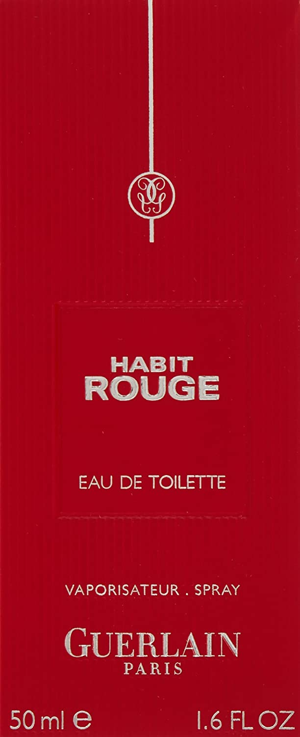 Habit Rouge By Guerlain For Men. Eau De Toilette Spray 1.7 Ounces
