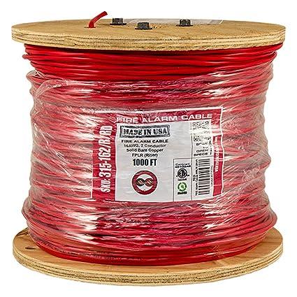 Vertical Cable Conductor de Cable de Alarma contra Incendios, 16 AWG, 2, sólido