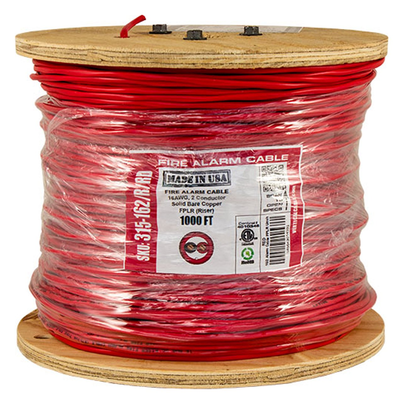 Vertical Cable Fire Alarm Cable, 16 AWG, 2 Conductor, Solid, Unshielded, FPLR (Riser), 1000ft Spool, Red - Made in USA by Vertical Cable