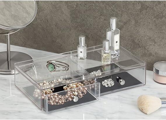 Pl/ástico transparente Caja joyero con 2 cajones para relojes collares   Organizador de joyas antiara/ñazos etc anillos InterDesign Clarity Jewelry Joyero organizador