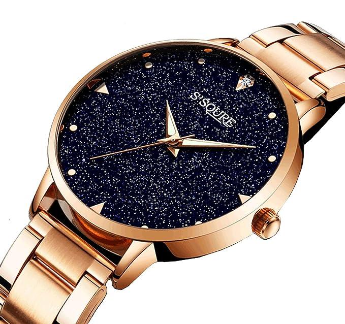 GuTe reloj mujer reloj de cuarzo, Oro Rosa Azul Piedra arenisca esfera analógico reloj de diseño de cuarzo de mujer de acero inoxidable: IK Colouring: ...