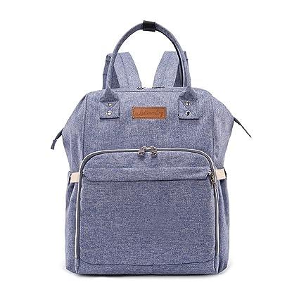 lequeen bebé pañales bolso cambiador pañales bolsa de mochila con aislamiento bolsillos cochecito correas y cambiador