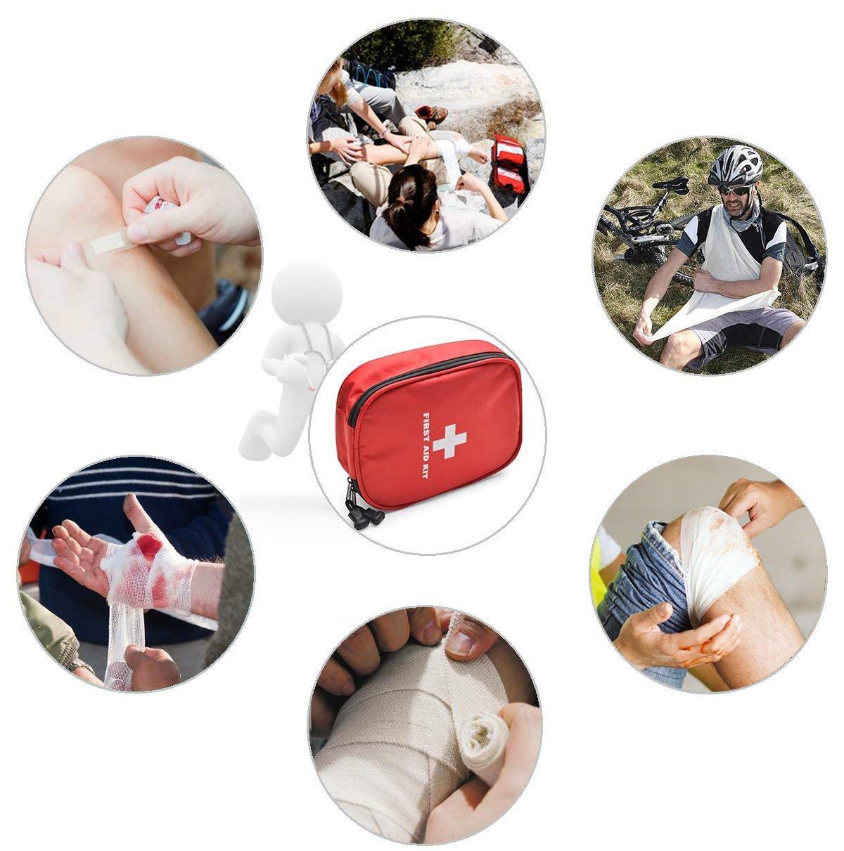 CAMMATE Kit de primeros auxilios de emergencia, 70 piezas Suministros médicos en bolsa de mini supervivencia para el hogar, viaje, vehículo, oficina, ...