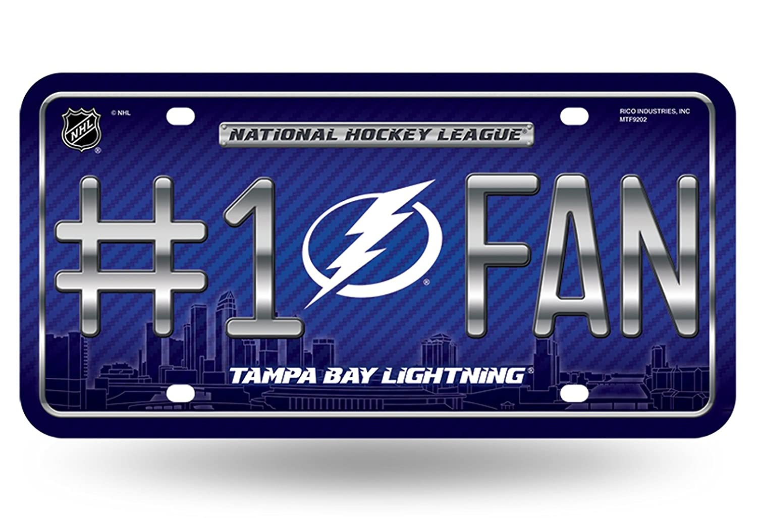 Rico Industries Tampa Bay Lightning New City Design #1 Fan 9202 Metal Tag License Plate Hockey