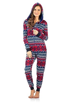 Ashford & Brooks Women's Sweater Fleece Zip Up Hooded Jumpsuit One Piece Pajama - Red Navy - XX-Large