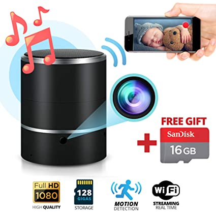 Spy Hidden Camera & Bluetooth Speaker 1080P Motion Detection SD Card 16GB Included WiFi Remote Surveillance