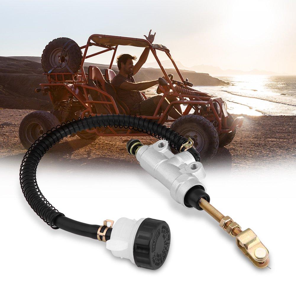 Universal Motorcycle Rear Hydraulic Brake Master Cylinder Pump Folding Rear Foot Brake Cylinder with Reservoir Gold