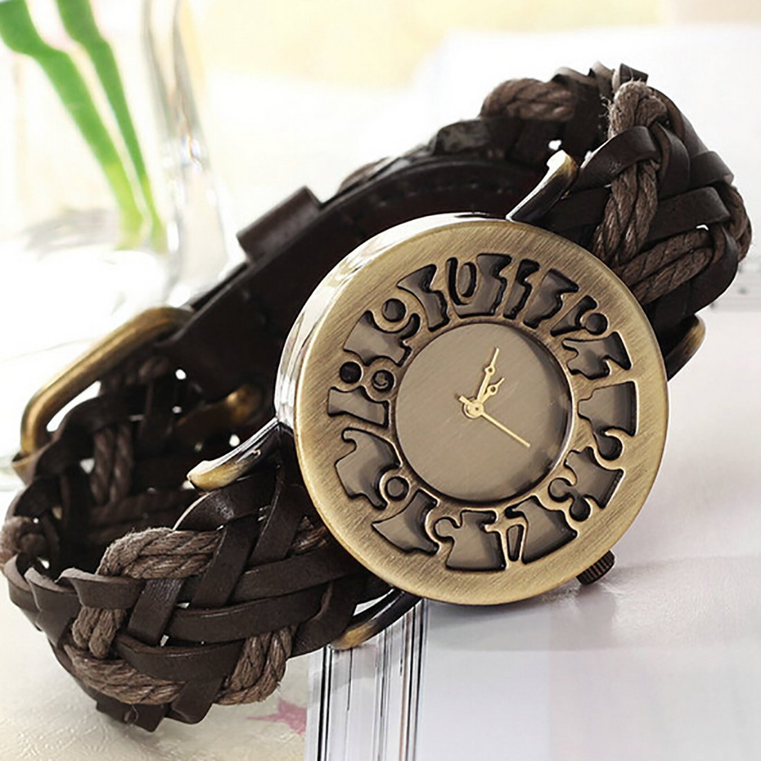 Amazon.com: 2016 Women Braided Leather Hollow Skeleton Dress Watches Quartz Watches Retro Vintage Bracelet Wristwatch Relogio Feminino Brown: Watches