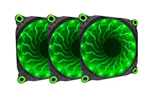 APEVIA 312L-DGN 120mm Silent Black Case Fan with 15 x Green LEDs & 8 x Anti-Vibration Rubber Pads (3 Pk)
