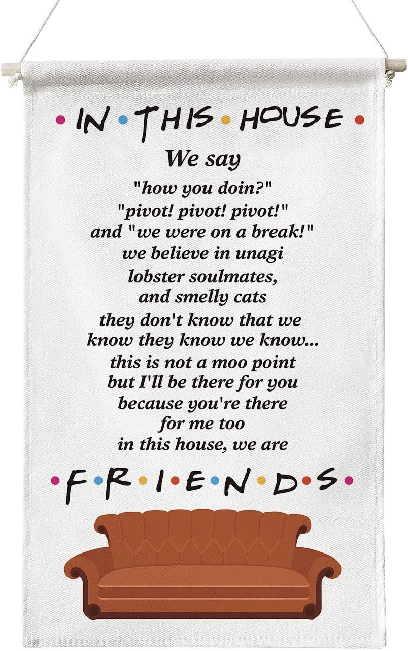 Funny in This House Sign Friends Quotes TV Show Painting Poster Canvas Wall Art for Home Office Decor Gifts for Men Women Best Friends,in This House Canvas Poster Hanger Scroll Hanging Poster Gifts for Fans of Friends TV Show,12 x 20 Inch