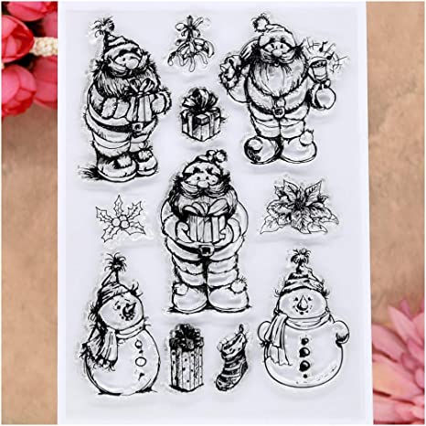 KWELLAM Merry Christmas Flowers Clear Stamps for Card Making Decoration and DIY Scrapbooking