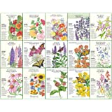 """Botanical Interests """"Butterfly Garden and Monarch Way Station"""" Flower Seed Collection - 15 Packets with Gift Box. $1 Goes to"""