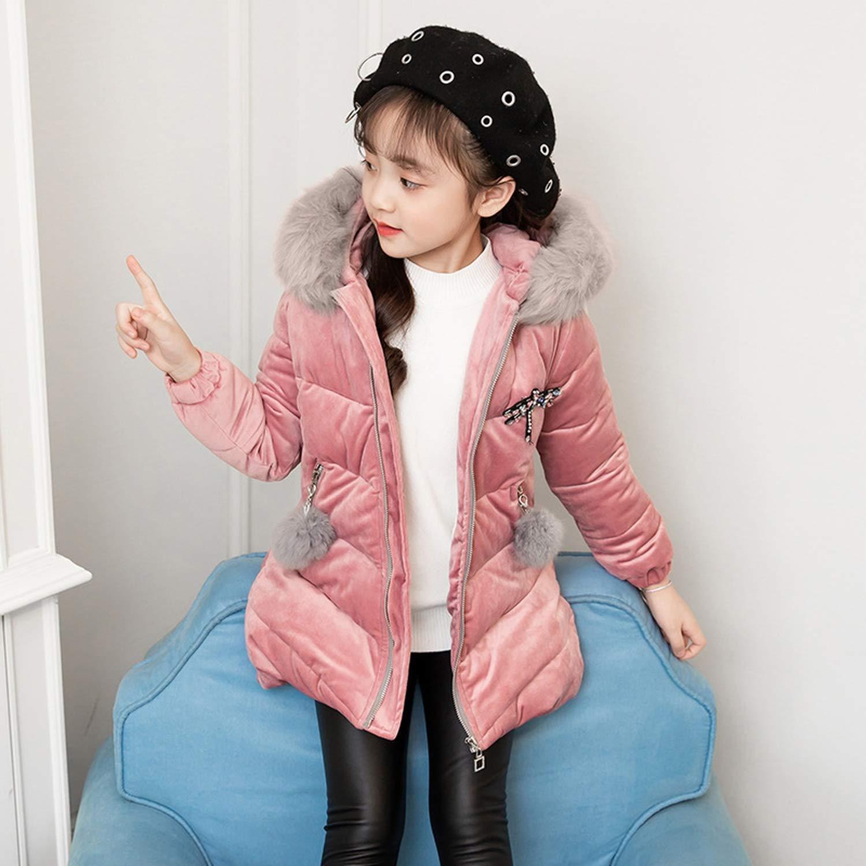 madows kids coat New Childrens Winter Jacket for Girls Thicken Girls Fur Hooded Velvet Girls Jackets Outerwear