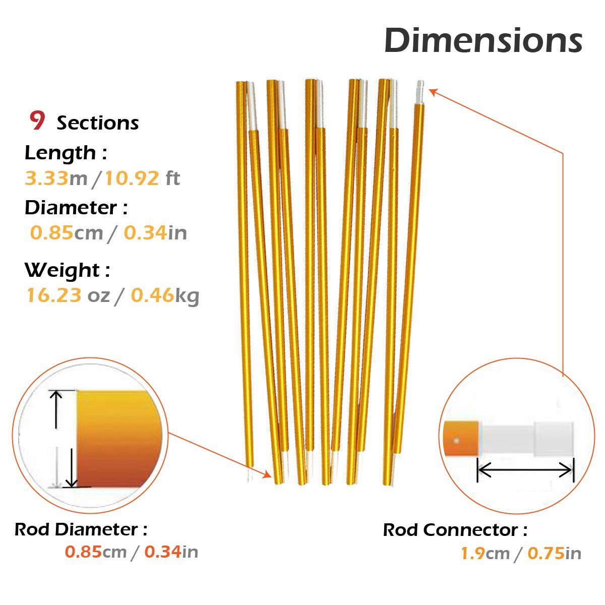 Aluminium Rod Tent Pole Replacement Accessories Tent Bar Tent Building Supporting Rod Awning Frames Kit for Hiking Camping TRIWONDER Tent Pole 2 PCS