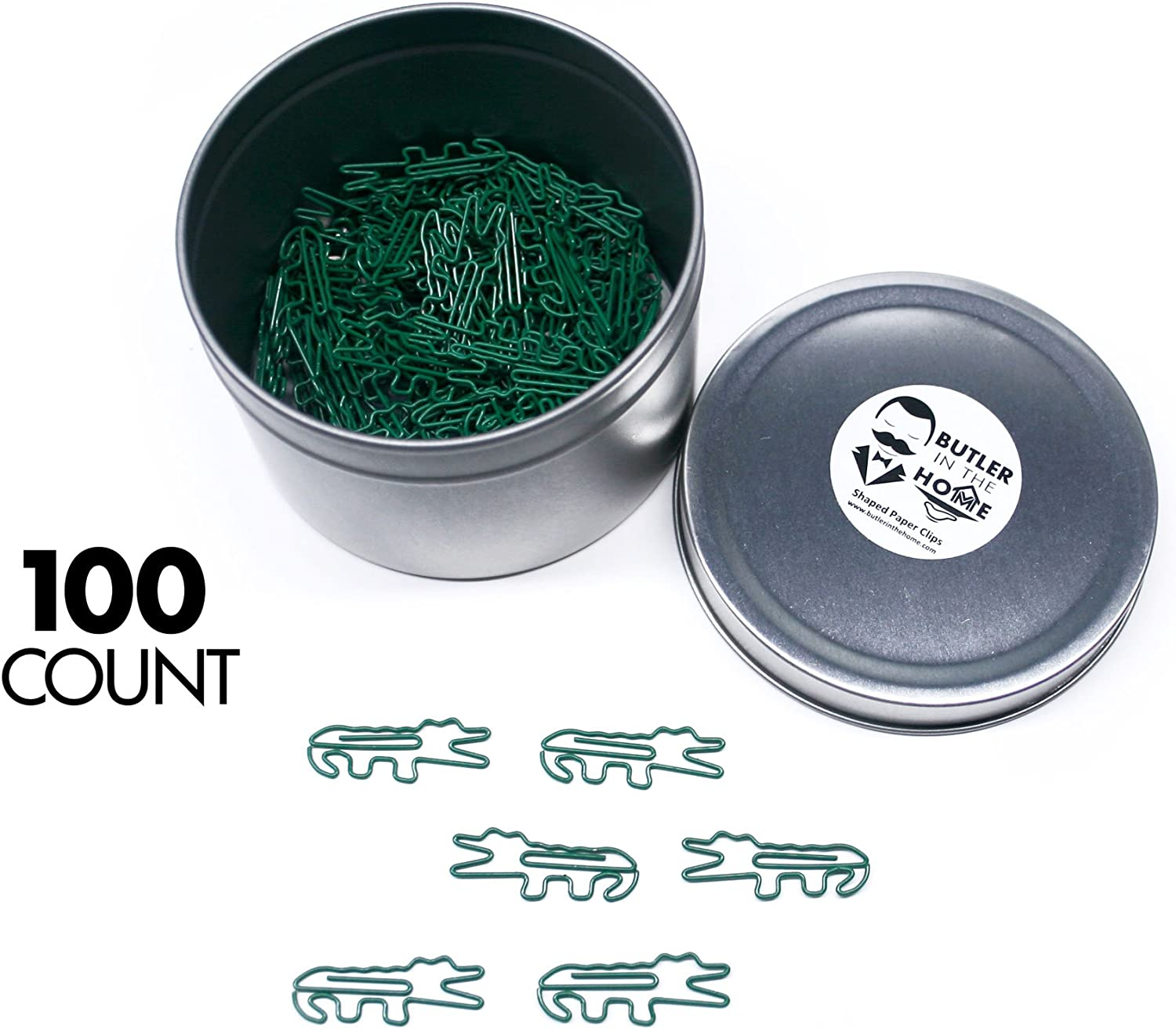 Butler in the Home Alligator Gator or Crocodile Shaped Paper Clips Great for Paper Clip Collectors or Office Gift - Comes in Round Tin with Lid and Gift Box (100 Count Green)