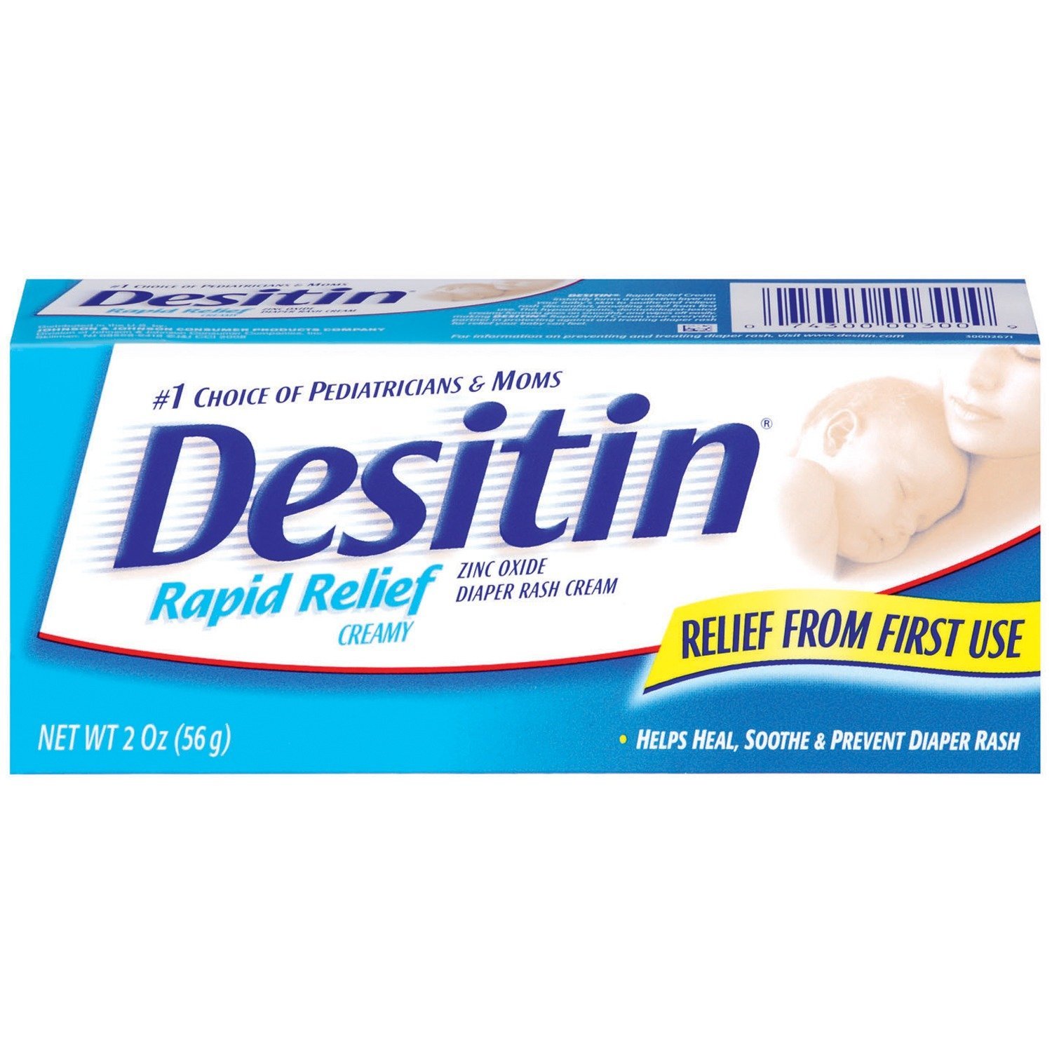 Desitin Rapid Relief Diaper Rash Remedy Cream, Travel Size, 2 Oz. Tube