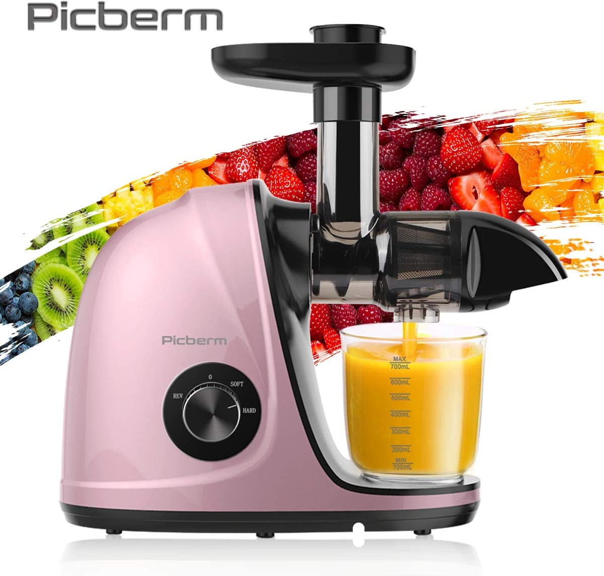 Juicer Machines, Picberm PB2110V Slow Masticating Juicer Extractor with Quiet Motor Easy to Clean, BPA-Free Anti-clogging Cold Press Juicer with Peeler, Brush, Recipes for Fruits and Vegetables, Pink