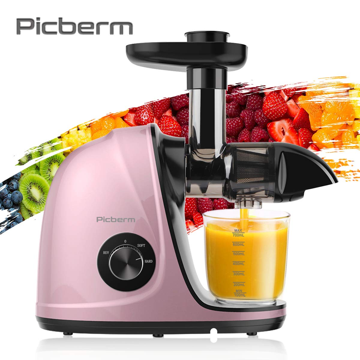 Juicer Machines, Picberm Slow Masticating Juicer Extractor with Quiet Motor Easy to Clean, BPA-Free Cold Press Anti-blocking Juicer with Peeler, Brush & Recipes for Fruits and Vegetables, Rose Gold by picberm