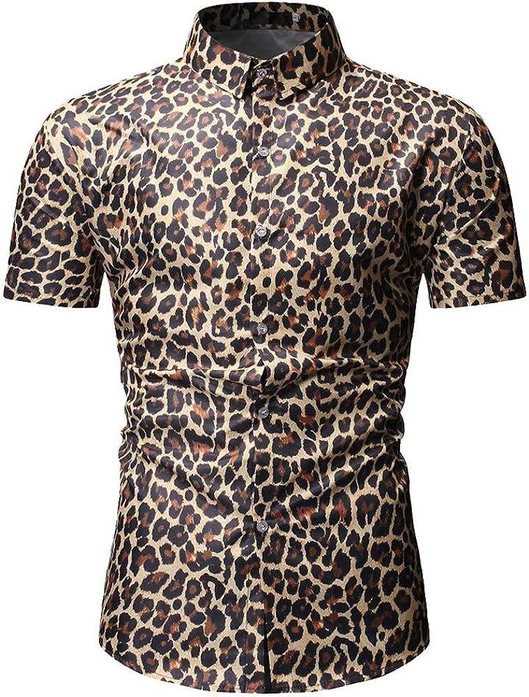Sylar Hombre Camisa Manga Corta Slim Fit Tops Moda Personalidad Leopardo Abotonar Camisa M-3XL, Adecuado para el Trabajo, el Ocio Diario.: Amazon.es: Ropa y accesorios