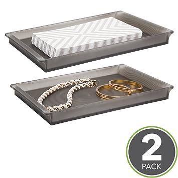 mDesign Bandeja de plástico elegante ideal como organizador de cosméticos – Bandejas decorativas para toallas de