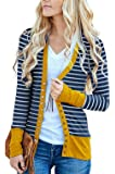 RichCoco Women's Striped Snap Button Down Open Front Long Sleeve Contrast Color Casual Cardigans Sweaters