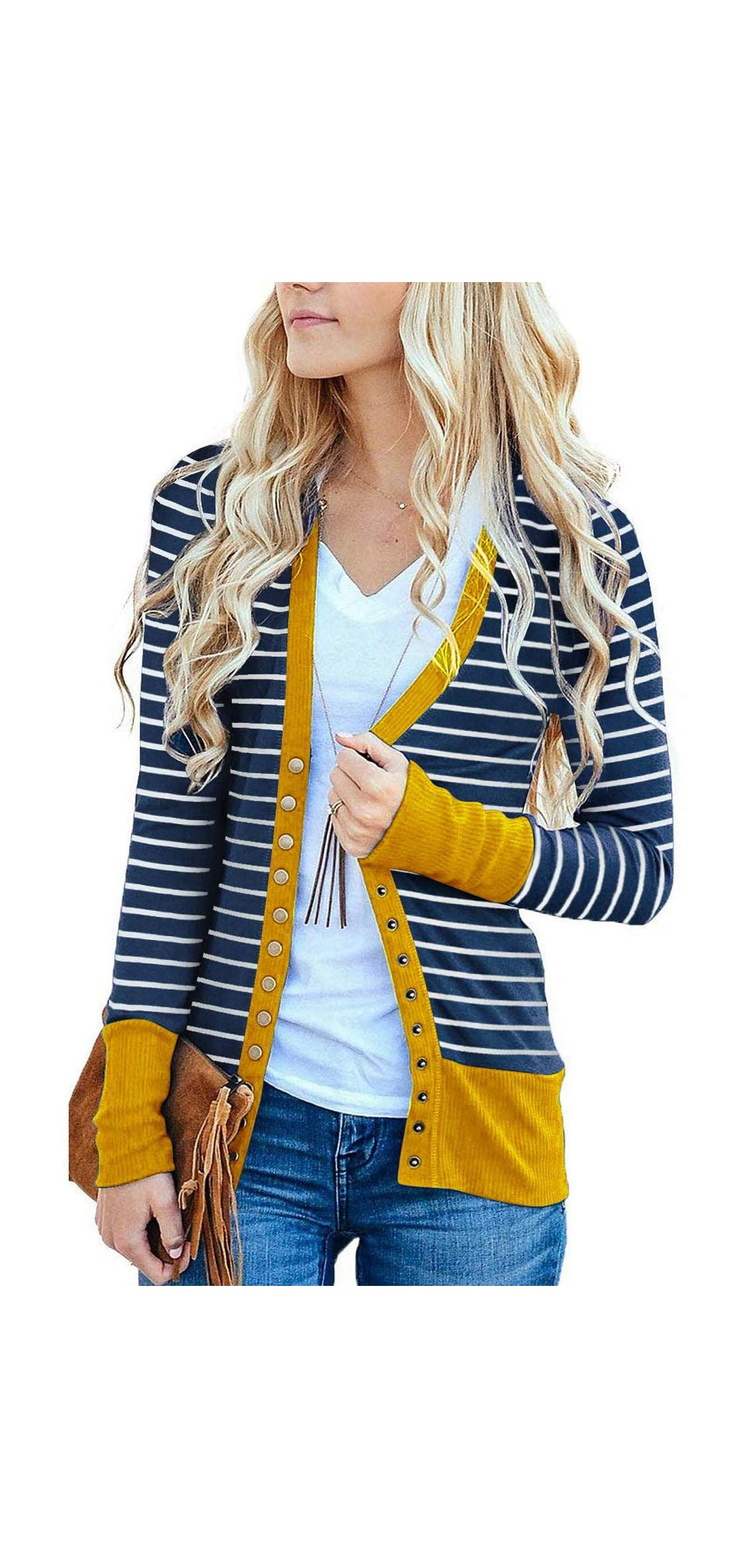 Women's Button Down Cardigan Long Sleeve Tops Shirts