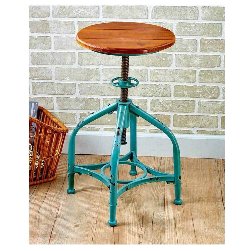 Lapha' Classic Chair Cafe Coffee Chic Rustic Metal Adjustable Height Swivel Bar Stool in Black or Distressed Teal Style 18-1/2''H to 29-1/2''H for Bar, Dining Room, Kitchen by Lapha'