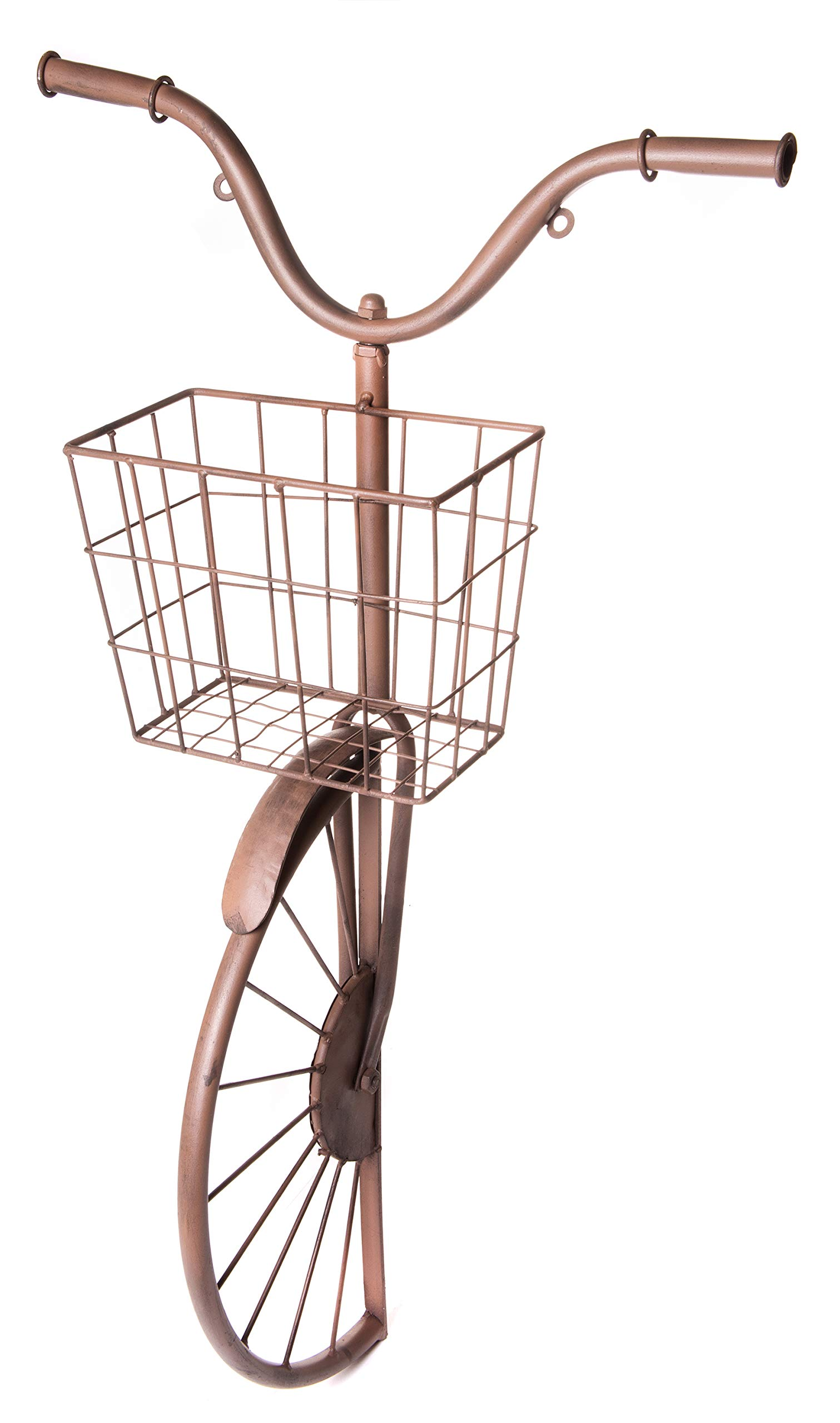 Metal Bicycle Sculpture with Basket, Country Rustic Decorative Wall Planter, Storage & Art Décor Centerpiece, 17'' x 30''