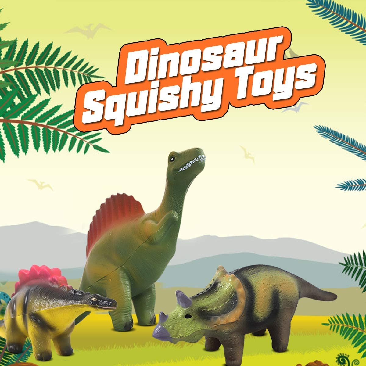 POKONBOY Jumbo Squishies Dinosaur Squishy Toys 6 Pack Dinosaur Toys for Boys Squishies Scented Squishies Pack Dinosaur Party Favors Squishies Stress Relief Toys for Dinosaur Party Supplies