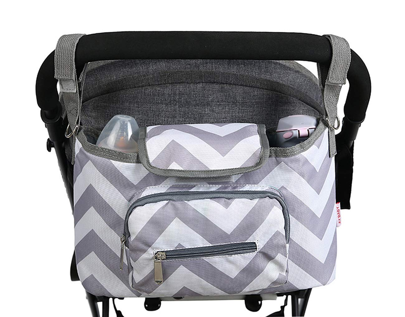 Parent Universal Stroller Organizer - Chevron Travel Bag with Shoulder Strap for Carrying Bottles, Wipes, Diapers, Toys & Snacks. Insert Cup Holder, Storage Pockets (Grey)