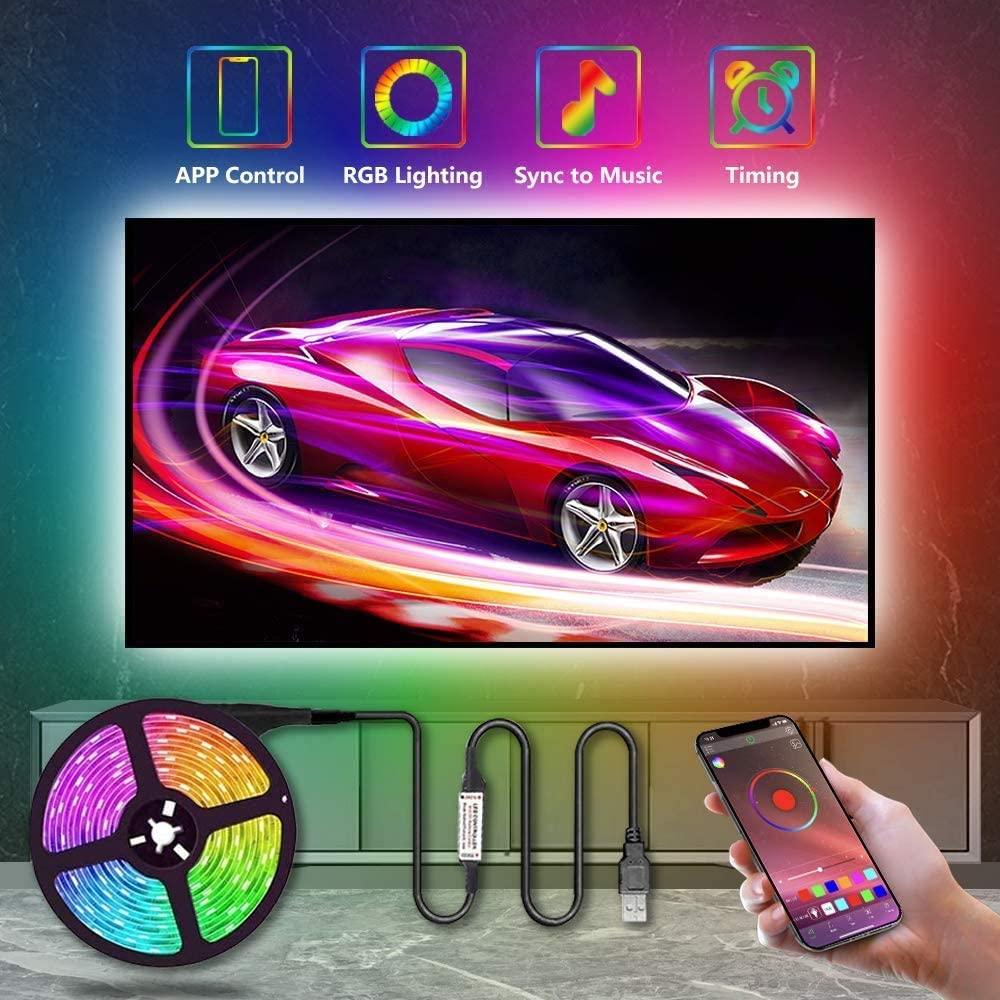 Smart TV Backlights USB Light Strip Kit, Gskeys Led Light Strip TV LED USB Backlights RGB 5050 LED Strip Lights with Bluetooth APP Control For 60 to 80 Inch TV Monitor PC Laptop TV Music Sync Changing