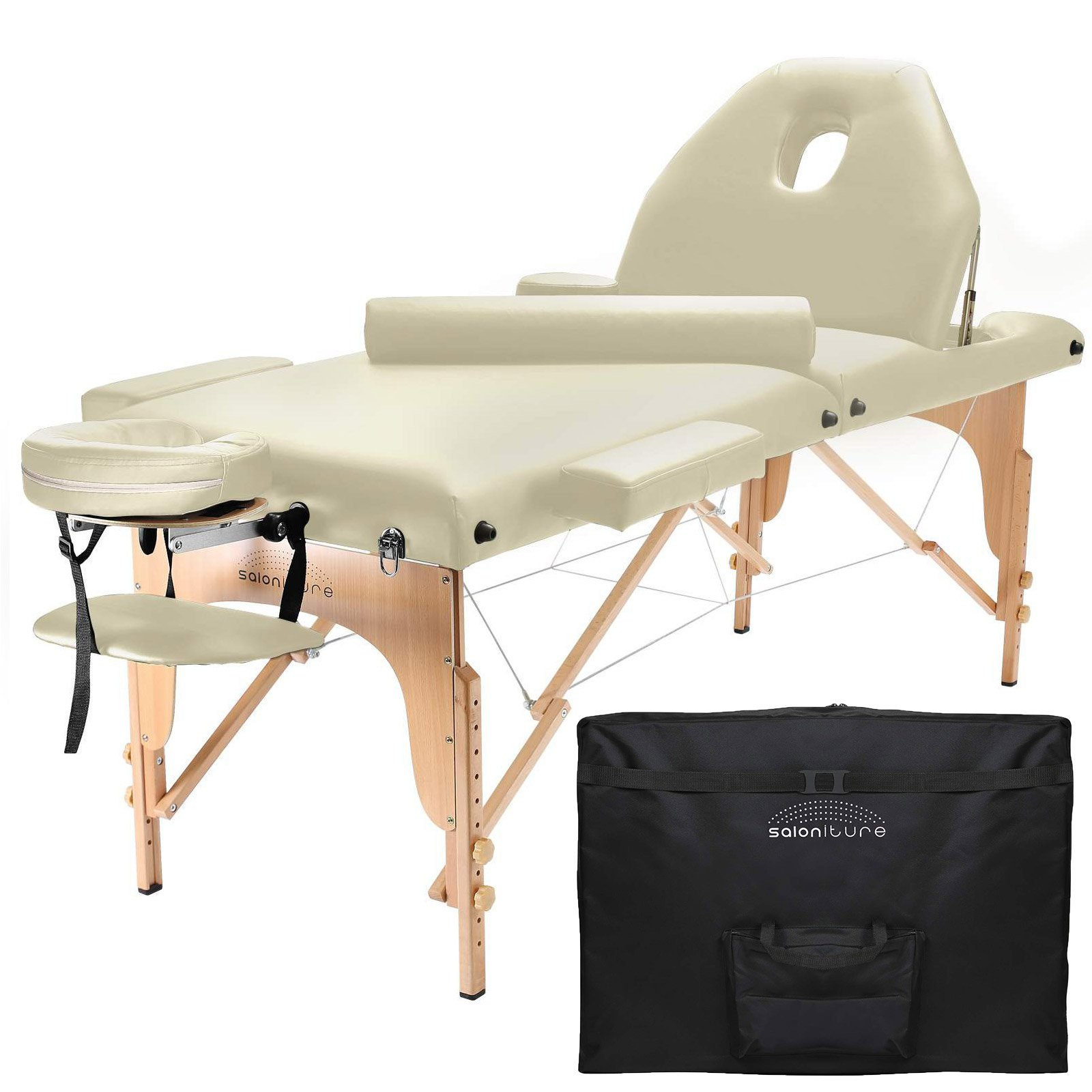 Saloniture Professional Portable Massage Table with Backrest - Cream by Saloniture (Image #1)