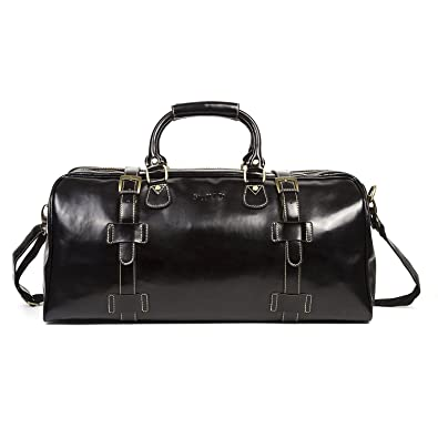796434ac9a Huntvp Mens Travel Duffel Bag Weekend Carry On Tote Gym Bags Genuine Leather-Black   Amazon.in  Shoes   Handbags