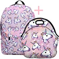 Backpack And Lunch Bag Set For Girls, SWYIVY Unicorn Backpack Girls with Lunch bag