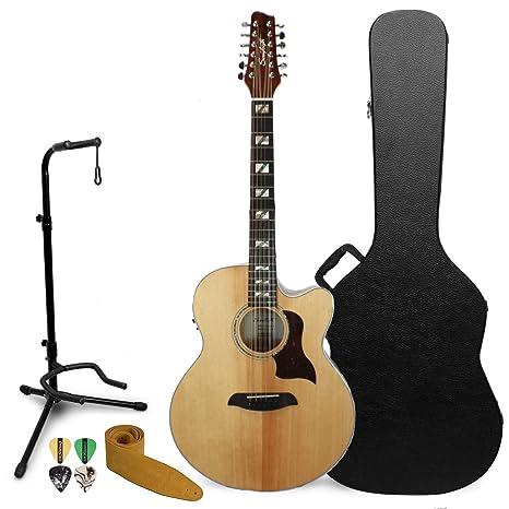 Sawtooth - Guitarra acústica eléctrica de arce con 12 cuerdas con funda rígida y accesorios