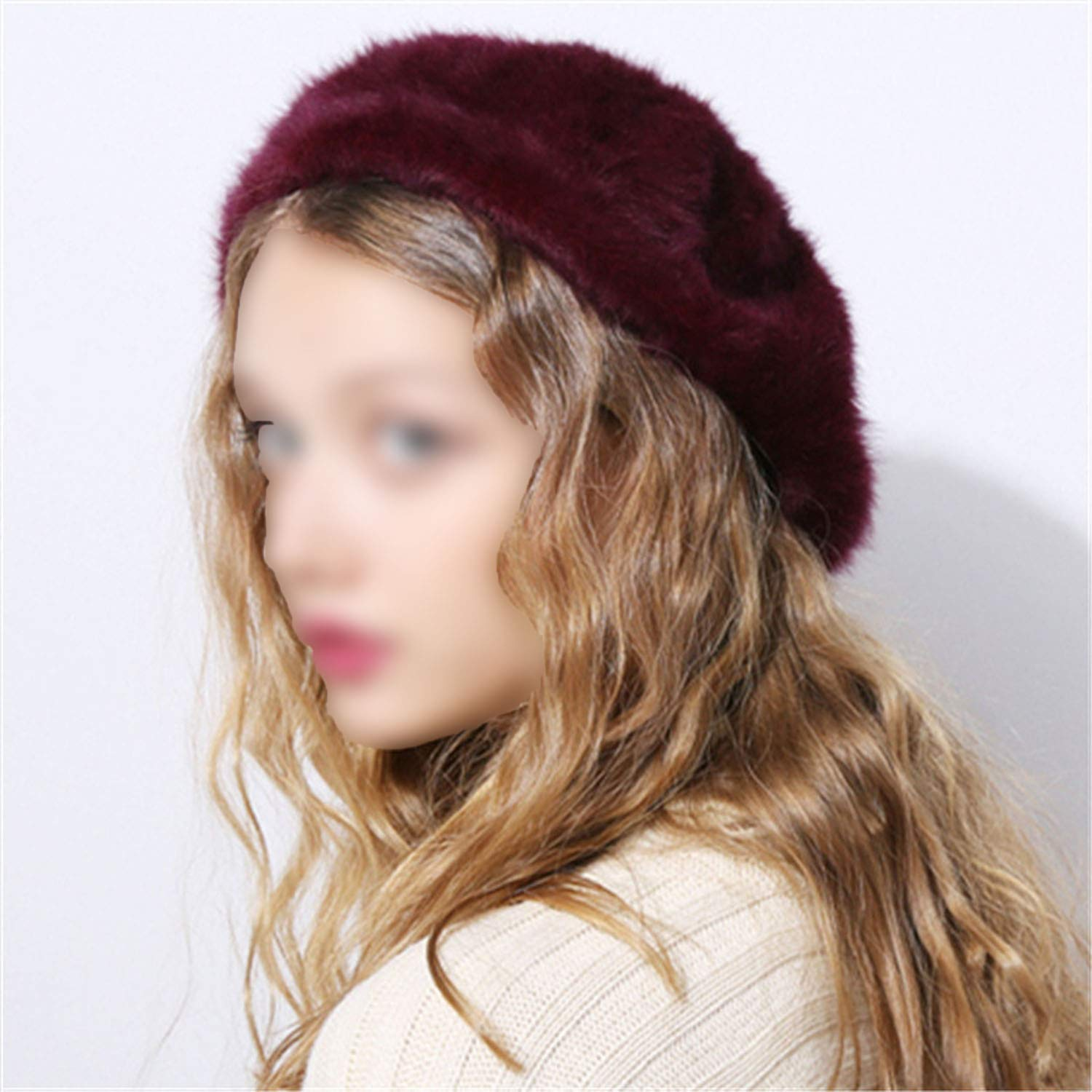 29dcee06 Winter Autumn Women's Rabbit Fur Beret hat for Girl Knitted hat Solid  Fashion Taking The Female boina at Amazon Women's Clothing store: